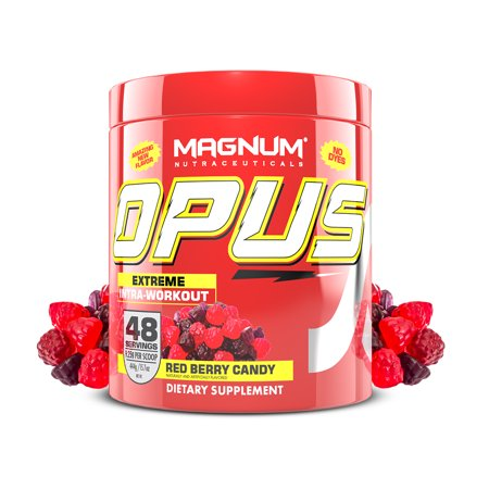 Magnum Nutraceuticals Opus Intra-Workout - 48 Servings - Red Berry Candy - Stimulant-Free Pre/Intra-Workout - More Energy - Muscle Growth - Delicious Flavor