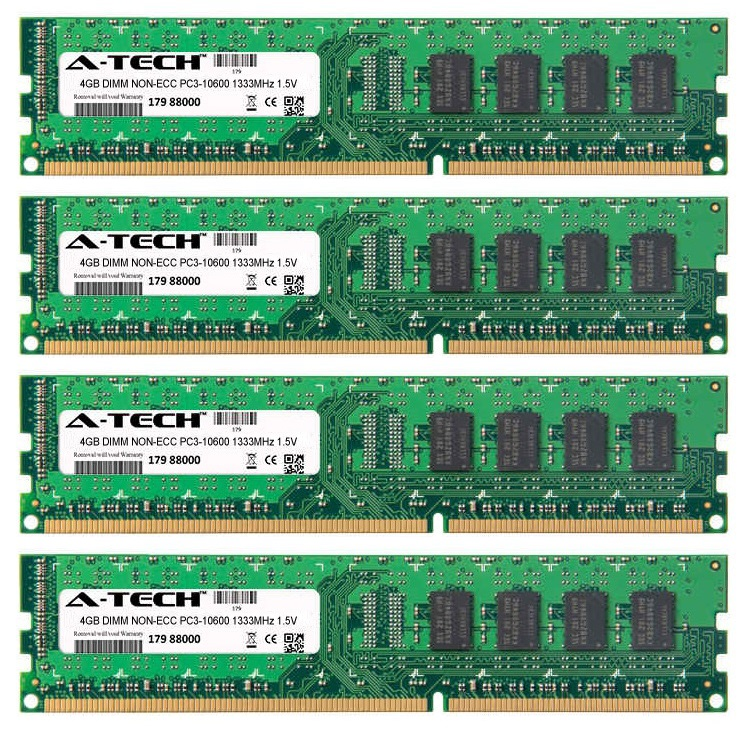 16GB Kit 4x 4GB Modules PC3-10600 1333MHz 1.5V NON-ECC DDR3 DIMM Desktop 240-pin Memory Ram