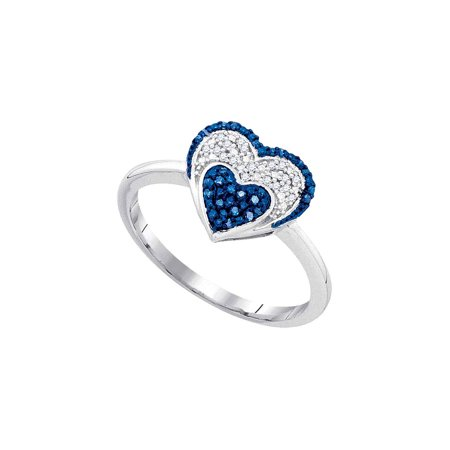 FB Jewels 10kt Yellow Gold Womens Round Blue Color Enhanced Diamond Small Heart Cluster Ring 1/10 Cttw
