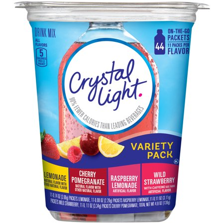 Crystal Light On-the-Go Lemonade, Raspberry Lemonade, Wild Strawberry with Caffeine, Cherry Pomegranate Drink Mix, 44 count Variety Pack