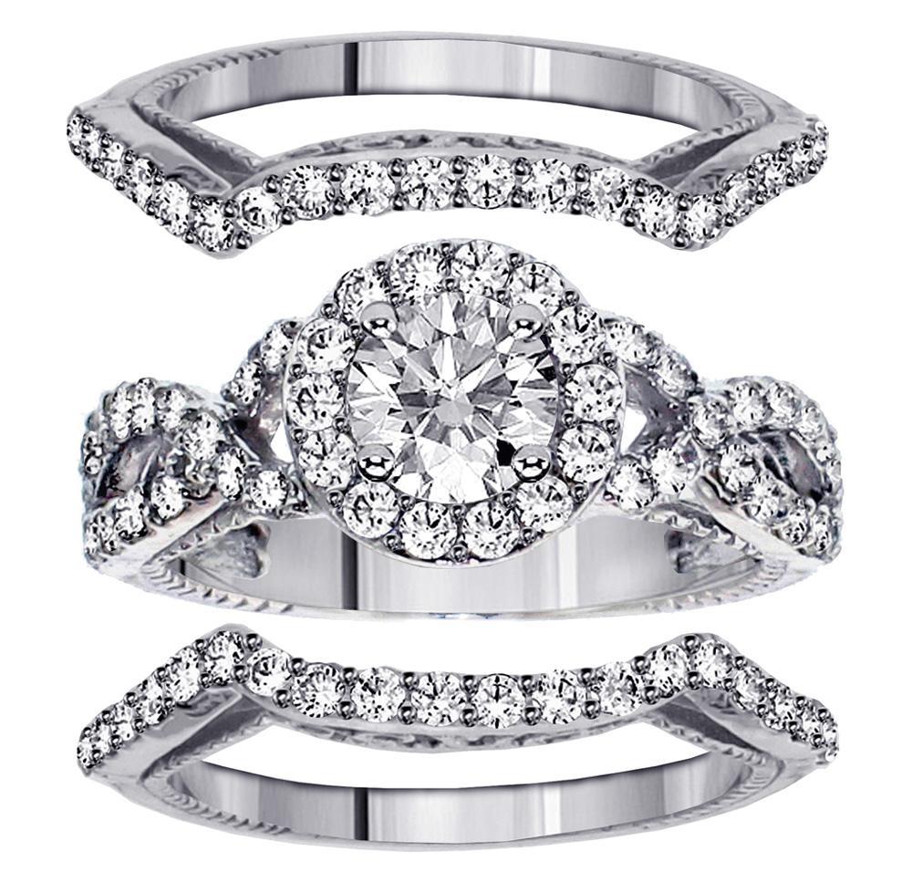 VIP Jewelry 2.40 CT Braided Mount Halo Diamond Engagement...