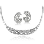 DB Designs  Silvertone 1/2ct TDW White Diamond Weave Omega Necklace and Earrings Set