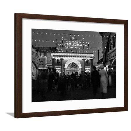 1930s-1940s Night Lights Amusement Park Brooklyn, NY Framed Print Wall