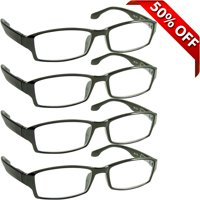 Tuvision Readers 1.50 Reading Glasses for Men and Women, 4 Pack