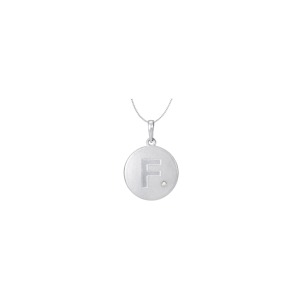 Cubic Zirconia Initial Necklace in 925 Sterling Silver Letter F Disc Pendant - image 2 de 2