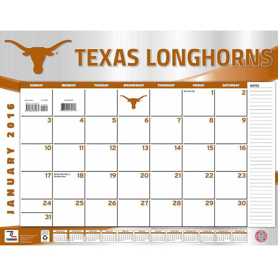 Turner Texas Longhorns 2016 22 X 17 Desk Calendar Walmart Com