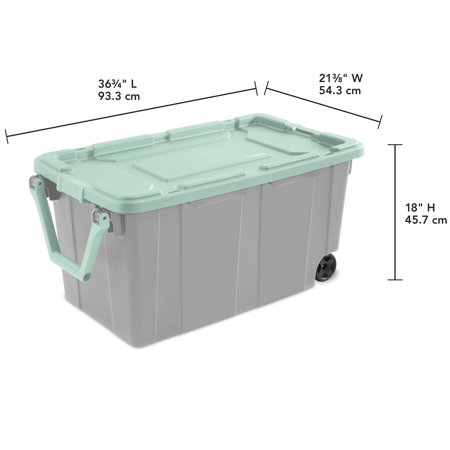 Sterilite 40 Gal. Wheeled Industrial Tote Classic Mint Case of 2