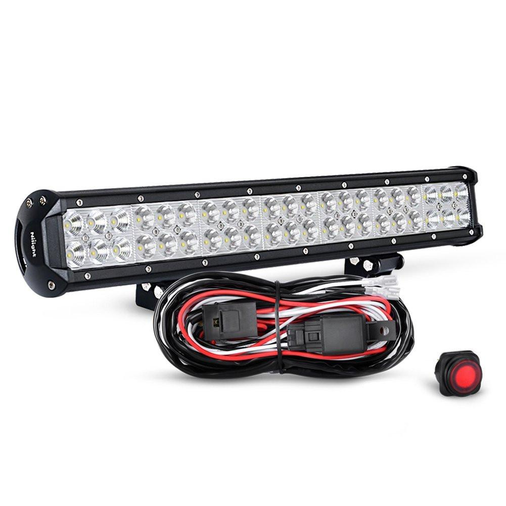 Nilight 20 Inch 126W Spot Flood Combo Led Light Bar LED Work Light Off Road Lights Driving Lights With Off Road Wiring Harness, 2 Years Warranty