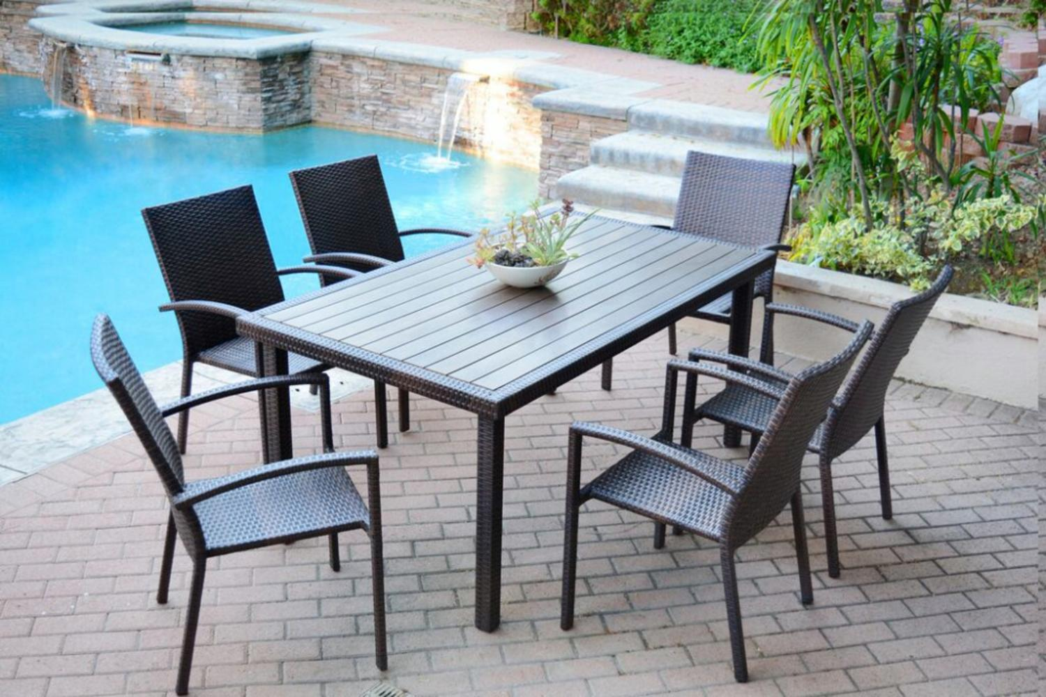 7-Piece Espresso Resin Wicker Outdoor Dining Table and Chairs Furniture Set by CC Outdoor Living