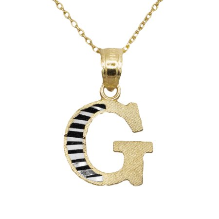 10k Yellow Gold Two Tone Letter G Initial with Diamond Cut Finish Pendant Necklace (No Chain) (Two Tone Boy Pendant)