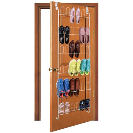 Storage Solutions White - Over The Door Shoe Rack Powder Coated Steel Tube Shoe Rack Closet Organizer – 18 Pair Capacity ()
