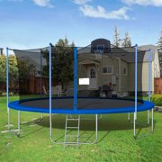 Trampoline for Kids, New Upgraded 16' Outdoor Trampoline with Safety Enclosure Net, Basketball Hoop and Ladder, Heavy-Duty Round Trampoline for Indoor or Outdoor Backyard, Capacity 375lbs