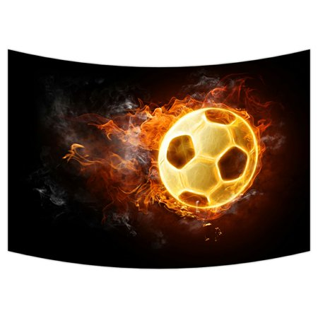 ZKGK Soccer Ball Art On Fire Tapestry Wall Hanging Wall Decor Art for Living Room Bedroom Dorm Cotton Linen Decoration 90x60 Inches