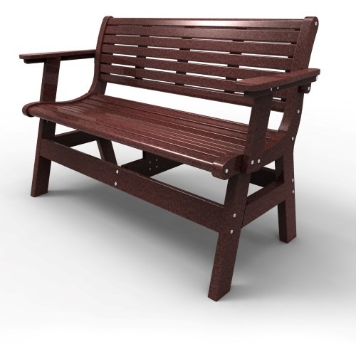 Bench with Back and Arms by Malibu Outdoor - Newport, Cherry 48''