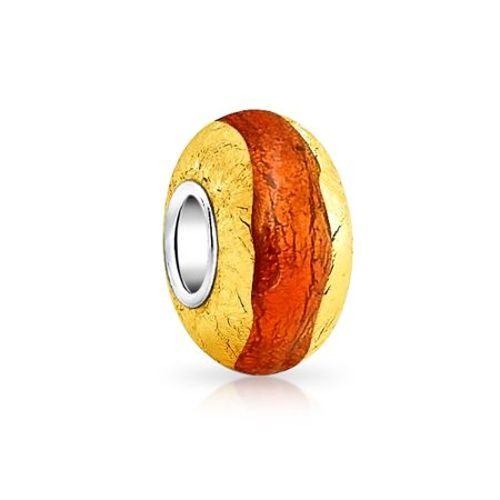Bling Jewelry Orange Simulated Citrine Silver Foil Murano glass Lampwork Bead Charm .925 Sterling Silver