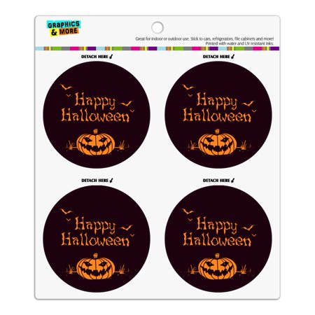 Happy Halloween Bag (Happy Halloween Holiday Pumpkin Jack-o-lantern Bats Refrigerator Fridge Locker Vinyl Circle Magnet)