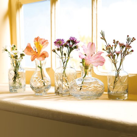 Set of 5 Petite Glass Bud Vases in Clear or Jewel Tones- Fun Shapes, 2 3/4
