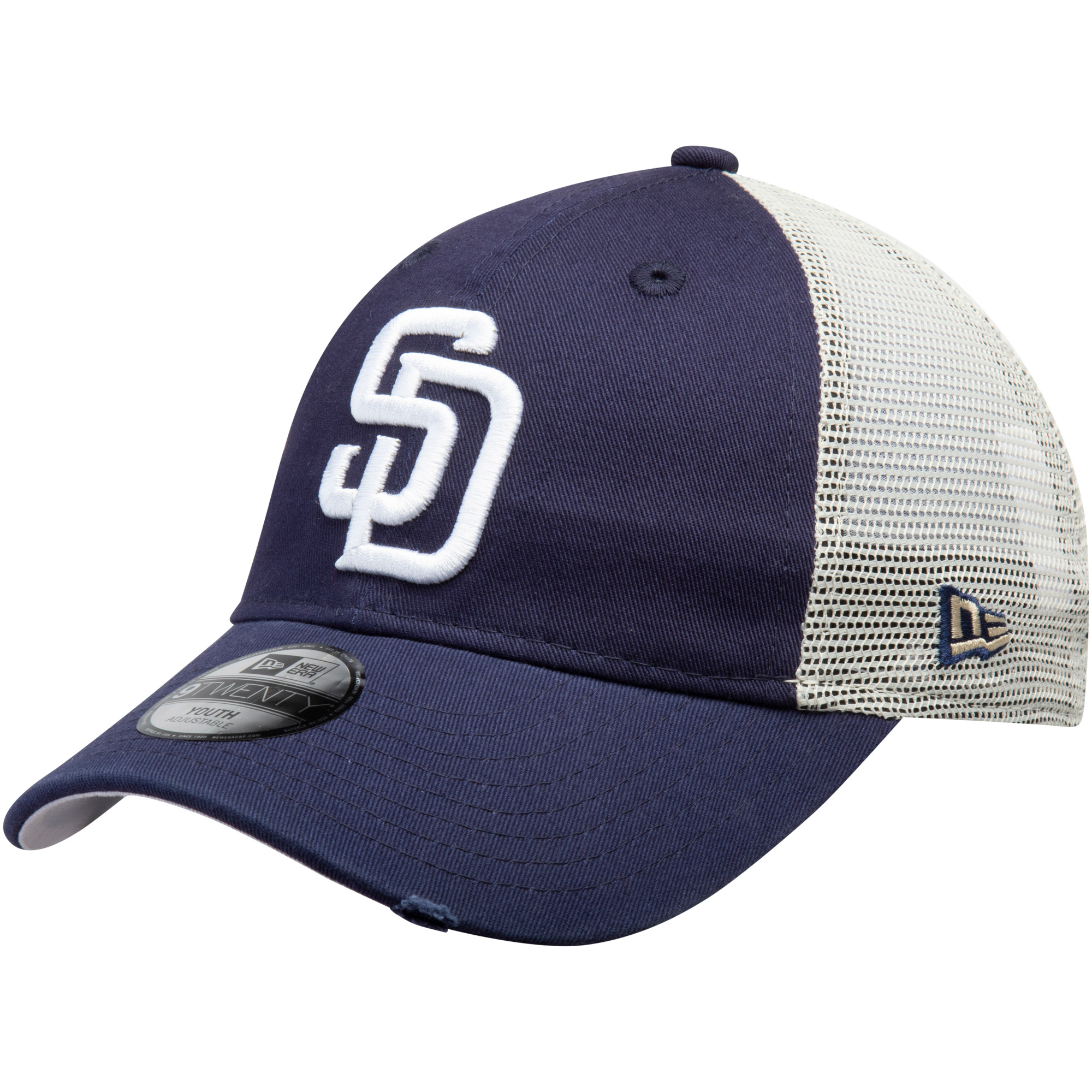 San Diego Padres New Era Youth Junior Stated Back Trucker 9TWENTY Adjustable Hat - Navy - OSFA