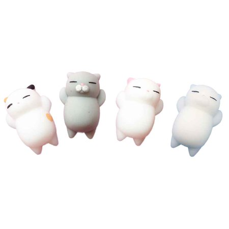 4pcs Mini Mochi Squishy Cat Squeeze Toy Animal Stress Reliever Toys Slow Rising Healing Toy - image 2 of 8