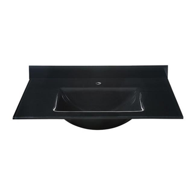 RYVYR GST370BK Rectangular Bowl with Backsplash Included, Black - Glass Top - 37 inch