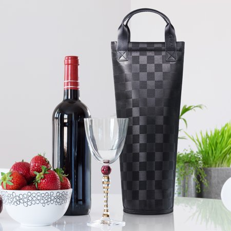 Kato Single Wine Tote Bag, Insulated Padded Thermal Wine Bottle Carrying Cooler Carrier for Travel, Picnic, Perfect Gift for Wine Lover, Black (Wine Carrying Bag)
