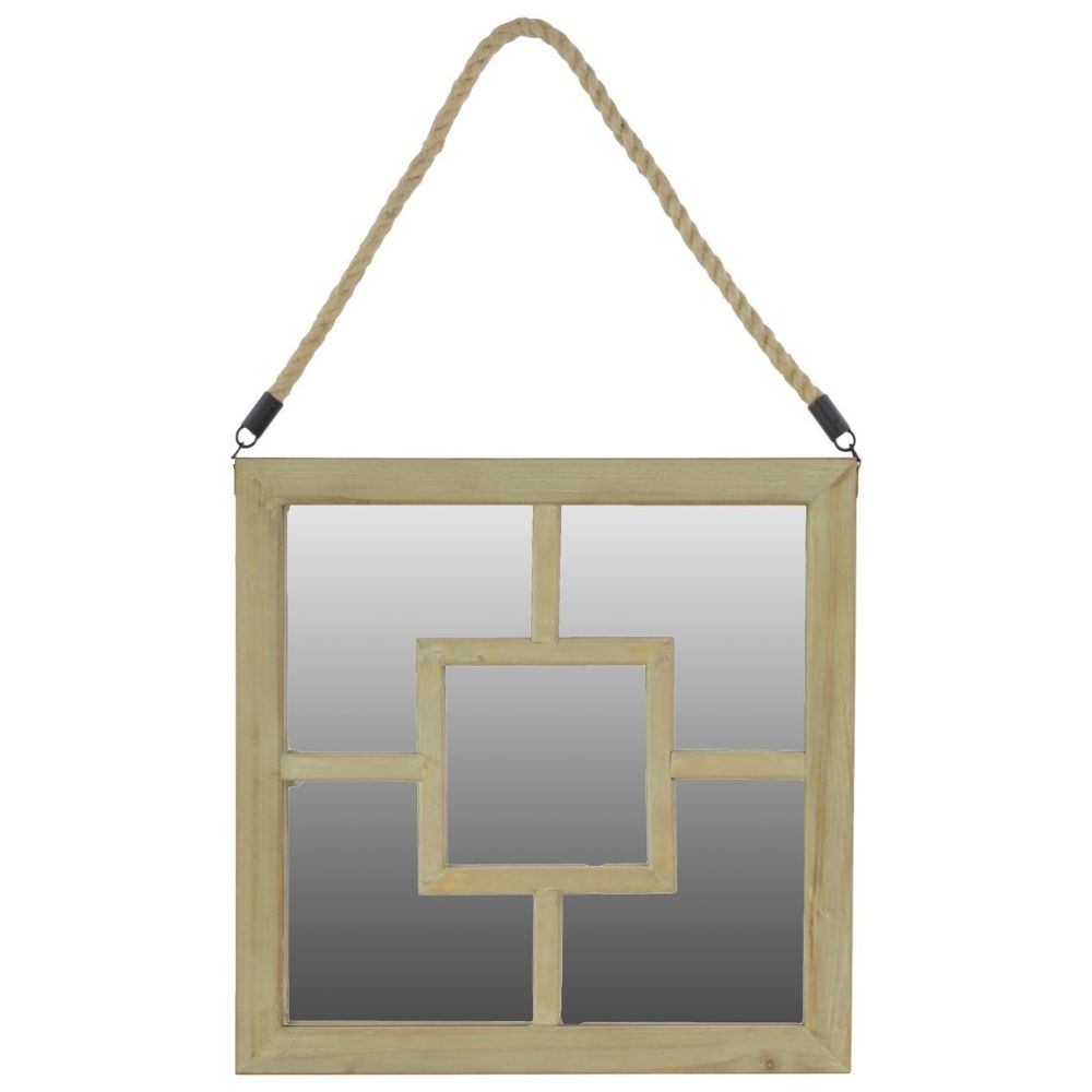 37045 Wooden Square Mirror With Rope Hanger Natural by Benzara