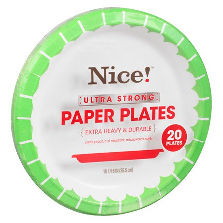 Nice! Ultra Strong Paper Plates 10 1/16in 20.0 ea (Pack of 4)