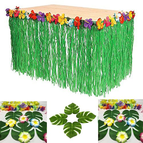 1 Table Skirt Hawaiian Luau Hibiscus Green Table Skirt 9ft Party Decorations  (Green (1