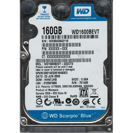 WD1600BEVT-22ZCT0, DCM HHNTJHB, Western Digital 160GB SATA 2.5 Hard Drive