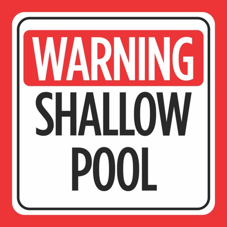 Aluminum Warning Shallow Pool Print Red White Black Caution Notice Swim  Swimming Pools Hot Tub Safety Signs, 12x12