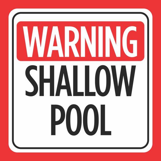 Aluminum Warning Shallow Pool Print Red White Black Caution Notice ...