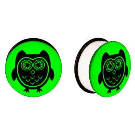 Owl gauges double Flared Ear Plugs UV Glow in the dark Ear Plugs body jewelry - Glow In The Dark Body