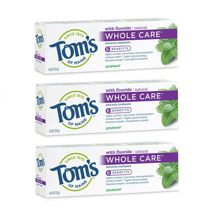 Tom's of Maine Whole Care Toothpaste, Spearmint, 4.0oz 3