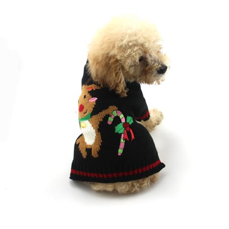 Cute Pet Dog Christmas Deer Printed Clothes Puppy Winter Sweater Costu