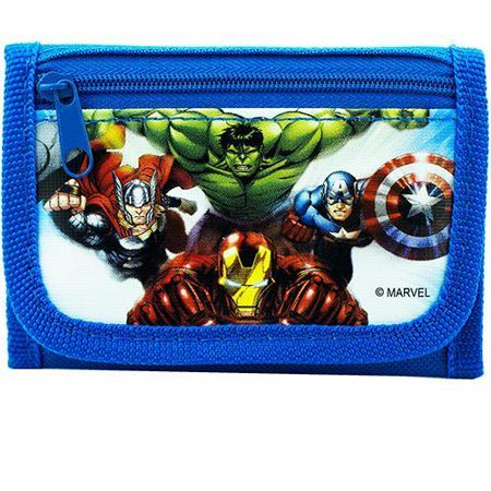 Avengers Wallet for Boys Superheroes Kids Wallets Trifold Coin Zip Pocket Blue
