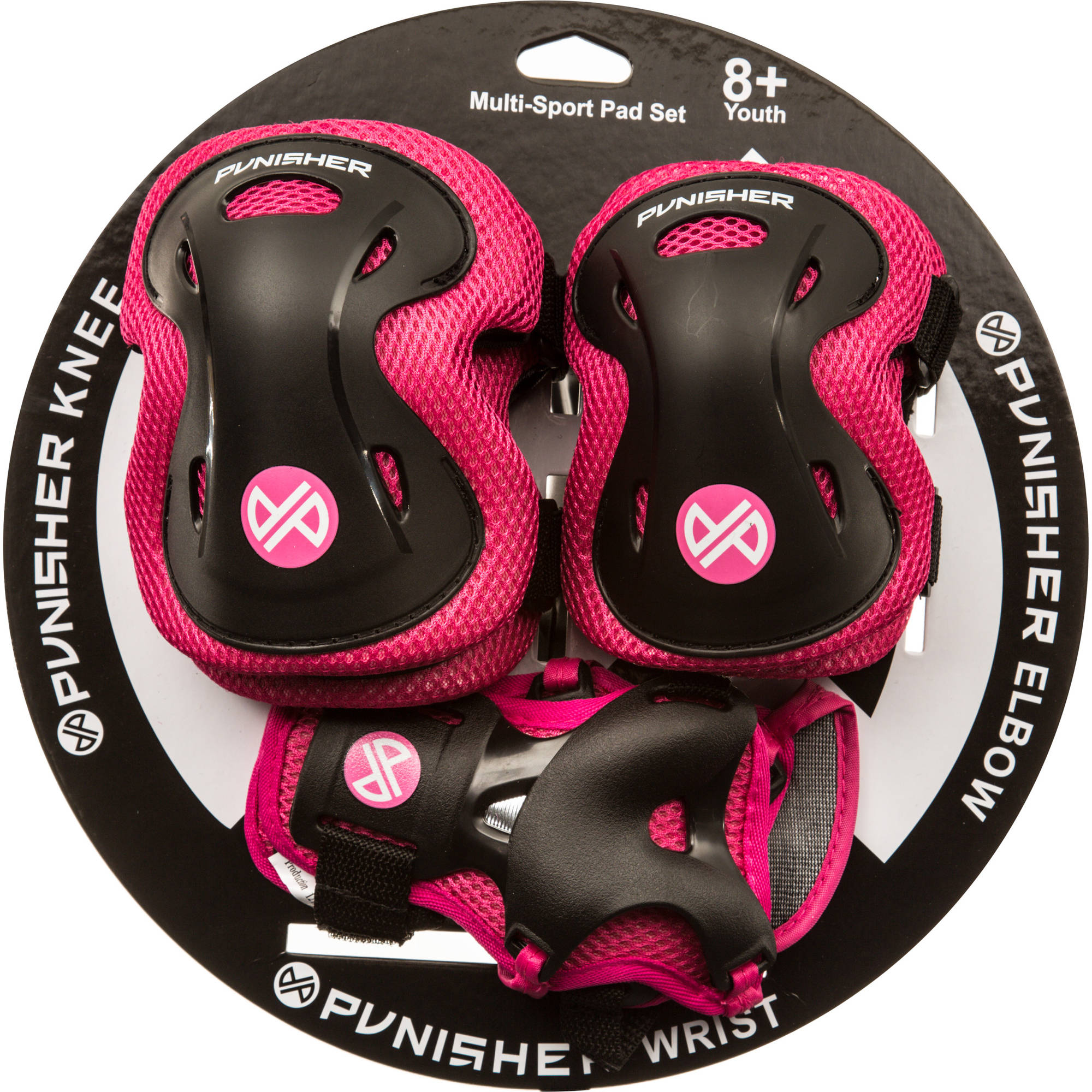 Punisher Elbow, Knee, and Wrist Skateboard Pad Set, Youth 8 , Pink