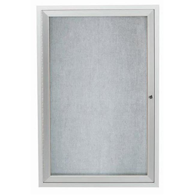 Aarco Products ODCC3624RI 1-Door Illuminated Outdoor Enclosed Bulletin Board - Clear Satin Anodized