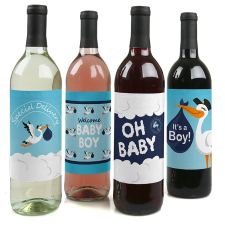 Boy Special Delivery - Blue It's A Boy Stork Baby Shower Party Decorations for Women and Men - Wine Bottle Label