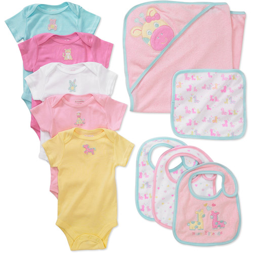 Garanimals -Baby Girls' 10-Piece Essential Embrodiered Creeper Set