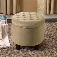 HomePop Tufted Round Ottoman with Storage, Multiple Colors