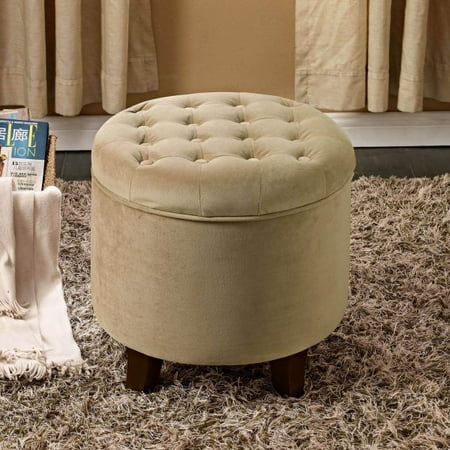Magnificent Homepop Tufted Round Ottoman With Storage Multiple Colors Gmtry Best Dining Table And Chair Ideas Images Gmtryco