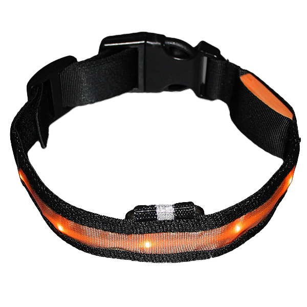 16-18 inch Pets Dog LED Lights Flash Night Safety Waterproof Nylon Flash Halsband Collar US