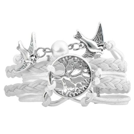 Fashion Multistring Leather Bracelet w/ Cute Charm Circumference [7.09- 9.06] - White Tree & Bird