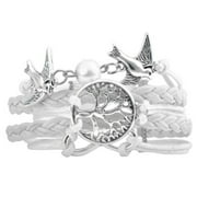 "Zodaca Fashion Multistring Leather Bracelet w/ Cute Charm Circumference [7.09- 9.06]"" - White Tree & Bird"