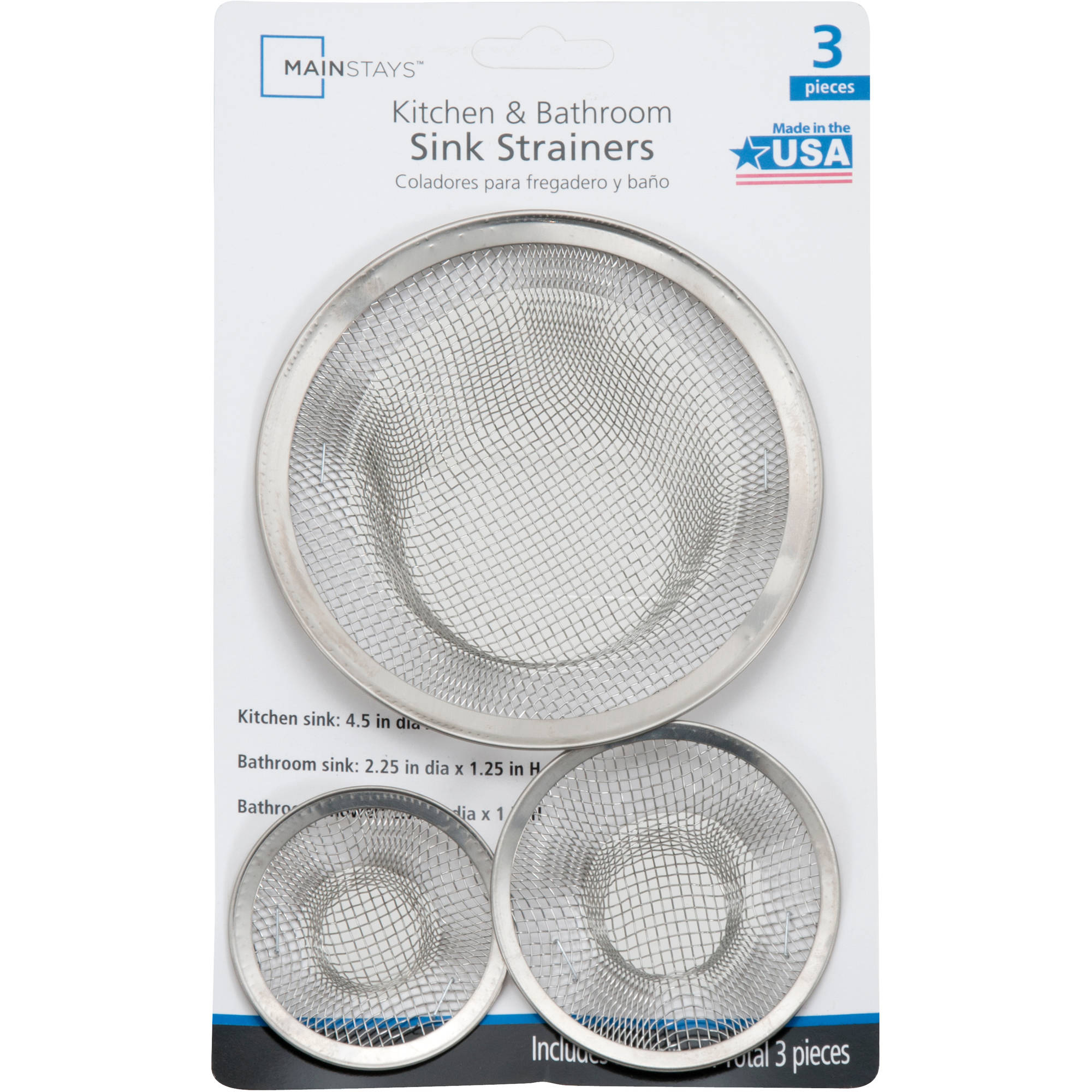 Mainstays Ms 3pc Kitchen Sink & Shower Strainers