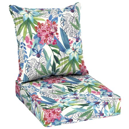 Better Homes & Gardens Painterly Tropical 48 x 24 in. Outdoor Deep Seat Cushion Set with EnviroGuard