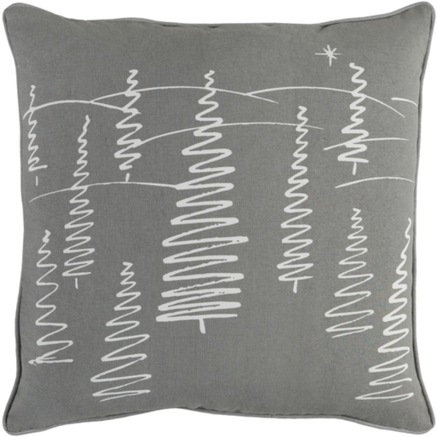 """18"""" Snow White and Moon Gray Creative Holiday Tree Scenery Throw Pillow –Down Filler"""
