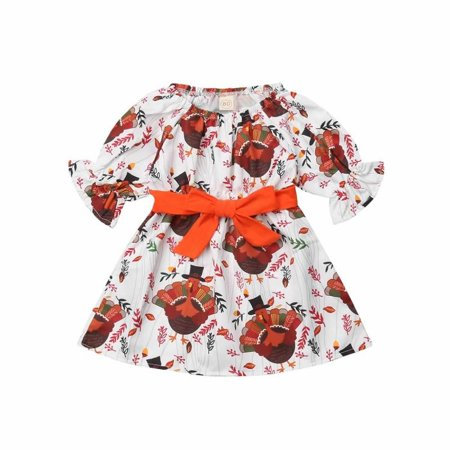 Infant Baby Girl Thanksgiving Dress-Turkey Print Flare Sleeve Dress with - Thanksgiving Dresses For Teens