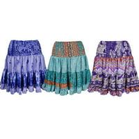 Mogul Funky Summer Printed Skirt Vintage Silk Sari Full Flare Boho Fashion Gypsy Hippy Chic Skirts Wholesale Lots Of 3