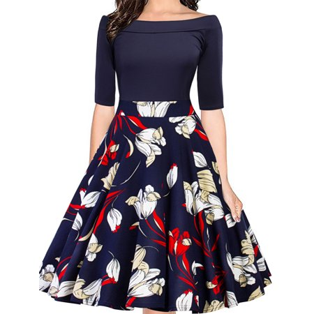 Women Vintage 50s 60s Retro Rockabilly Cocktail Floral Print Swing Casual Party Dress Patchwork Puffy Prom Ball Gown - Puffy Dresses For Halloween